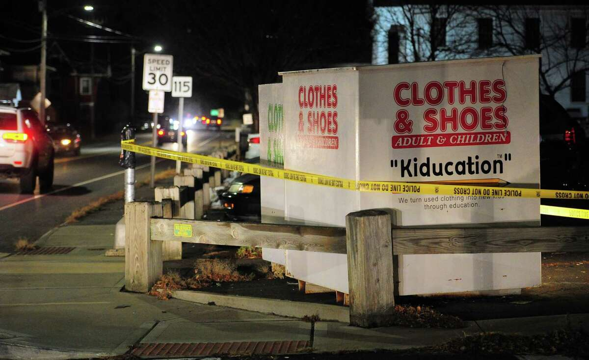 A set of Kiducation donation boxes have been sealed off with crime scene tape along Derby Avenue in Derby, Conn., on Thursday Dec. 5, 2019. Similar boxes in Hamden were being searched in relation to the case. Ansonia police are currently searcing for missing toddler Venessa Morales after her mother's body was found at their home on Myrtle Avenue.