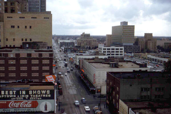 Looking south down Milam, late 1950s.