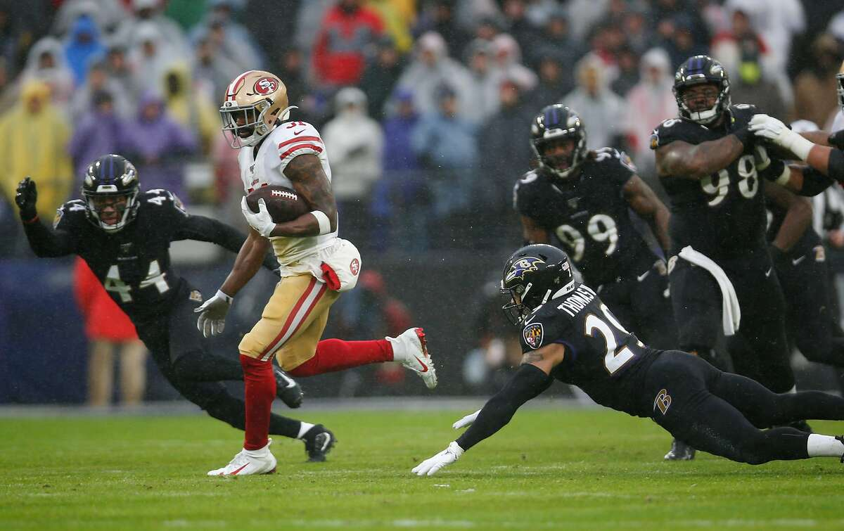 BALTIMORE, MD - DECEMBER 1: Raheem Mostert #31 of the San Francisco 49ers rushes during the game against the Baltimore Ravens at M&T Bank Stadium on December 1, 2019 in Baltimore, Maryland. The Ravens defeated the 49ers 20-17. ~~