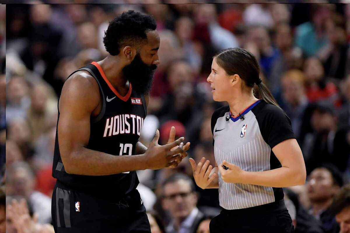 Houston Rockets guard James Harden (13) argues with referee Natalie Sago during first half NBA action in Toronto on Thursday, Dec.5, 2019. (Nathan Denette/The Canadian Press via AP)