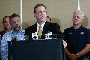 Jefferson County Judge Jeff Branick addresses questions regarding the recent evacuation order and explains procedures moving forward during a press conference with members of the county, City of Port Neches, EPA, TPC Group and other organizations Thursday in Beaumont. Photo taken Thursday, December 5, 2019 Kim Brent/The Enterprise