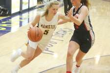 Manistee's Ashtyn Janis drives toward the hoop on Thursday during the Chippewas' loss to Big Rapids.