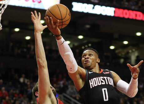 Rockets guard Russell Westbrook produced a triple-double in Thursday night's win over the Raptors, totaling 19 points, 13 rebounds and 11 assists.