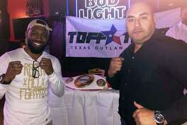 """Austin """"No Doubt"""" Trout, left, and TOFF Texan CEO David Leal were at TKO Sports Café Thursday to promote Friday's Fight Fest 3 event."""