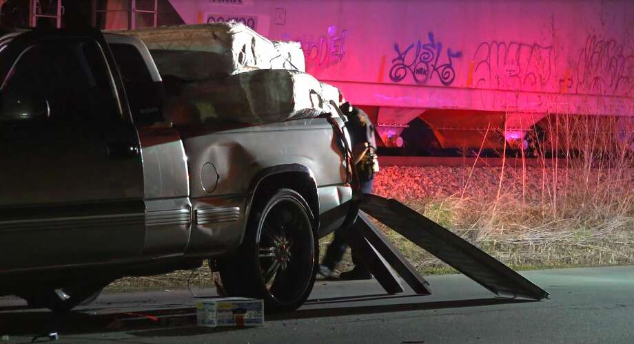 Two people were airlifted to the hospital after a Honda struck a Chevy truck late Thursday. Photo: OnScene.TV