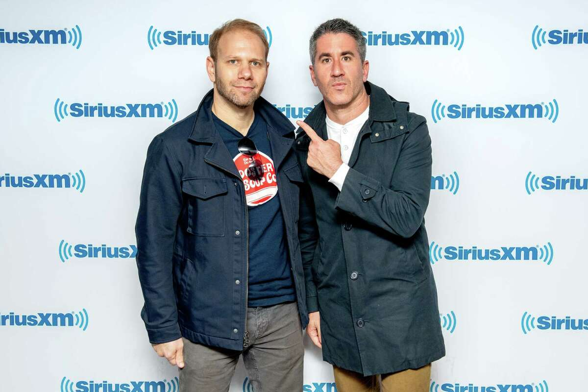 Steven Cook and Michael Solomonov visit SiriusXM Studios on October 17, 2018 in New York City. (Photo by Roy Rochlin/Getty Images)
