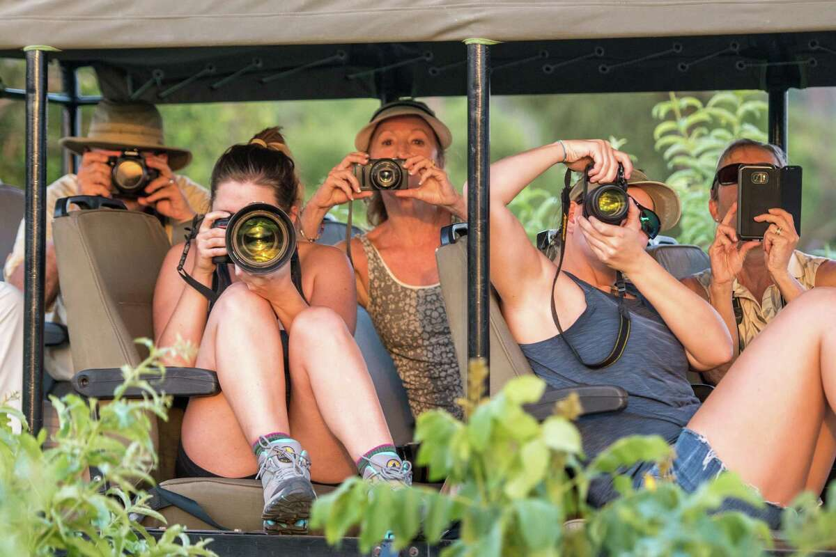 A group of tourists in a safari caravan all hold up their cameras to snap photos of the wildlife. Chobe National Park - Botswana. (Photo by: Edwin Remsberg / VWPics/Universal Images Group via Getty Images)