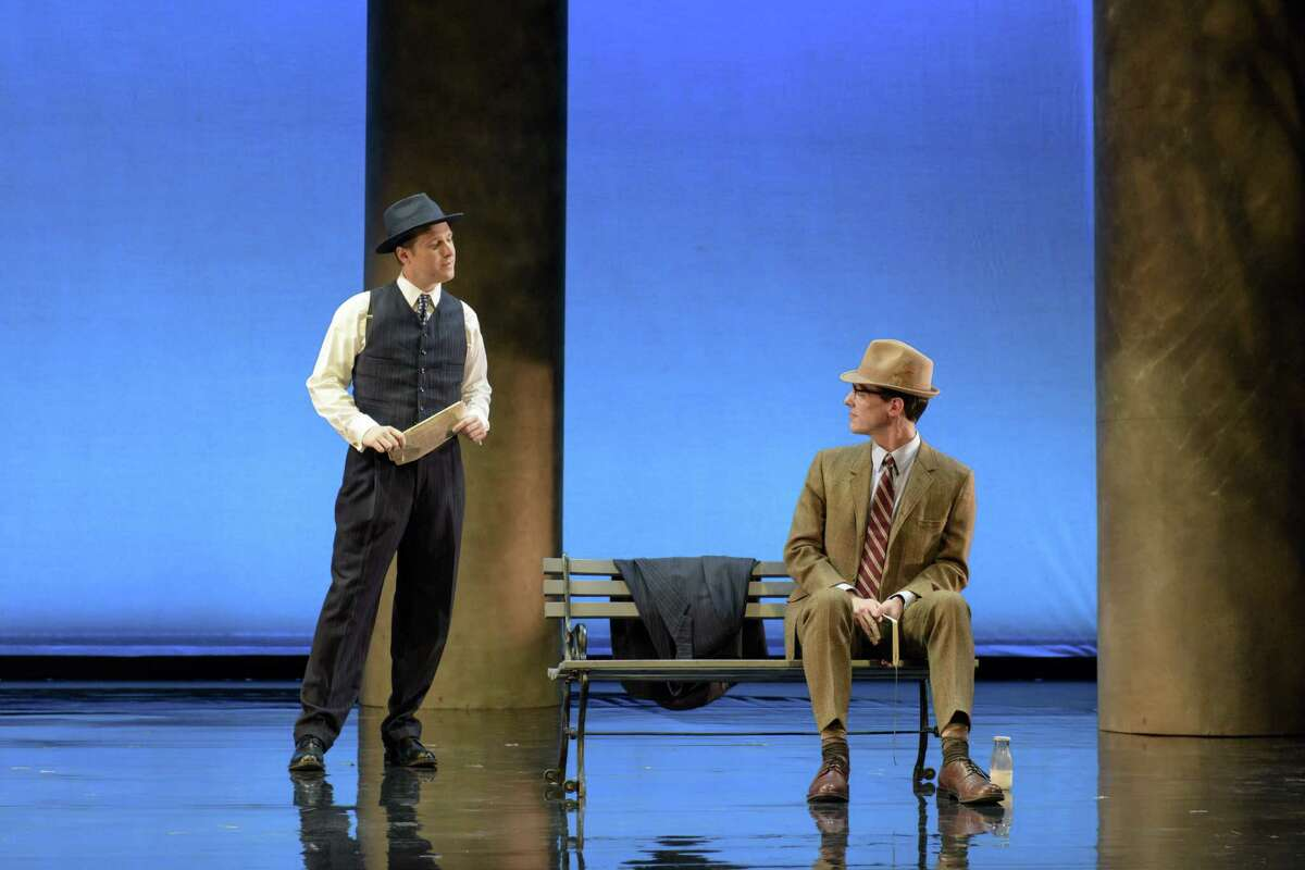 """STATE DEPARTMENT EXECUTIVE HAWKINS FULLER (JESSE BLUMBERG, L.) MEETS NEWSPAPER INTERN TIMOTHY LAUGHLIN (JESSE DARDEN) FOR THE FIRST TIME IN A DUPONT CIRCLE PARK IN BOSTON LYRIC OPERA'S PRODUCTION OF """"FELLOW TRAVELERS,"""" PLAYING NOV. 13-17 AT THE EMERSON PARAMOUNT CENTER. photo by Liza Voll"""