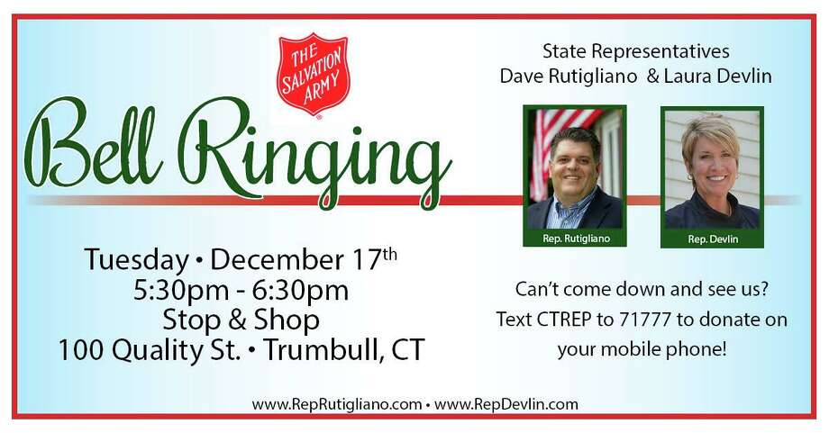 State Representatives David Rutigliano (R-123) and Laura Devlin (R-134) will be volunteering to raise money for local residents-in-need by collecting for the Salvation Army at the Trumbull Stop and Shop Dec. 17. Photo: Contributed Photo.