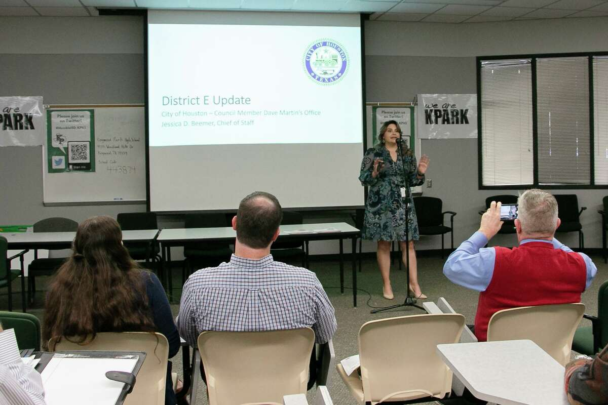 Jessica Beemer, Chief of Staff for the City of Houston Council Member Dave Martin, discussed government efforts for flood mitigation and maintenance of storm drains.