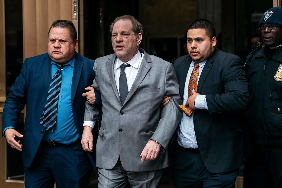 Harvey Weinstein leaves court in New York City after a hearing. He remains free on $1 million bail. Photo: Scott Heins / Getty Images