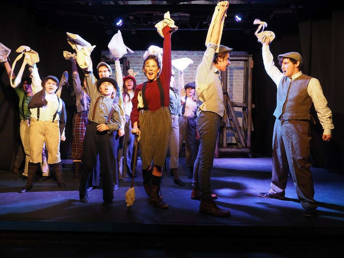 """Upstage Arts in Webster scored multiple nominations, including best musical, for two shows: """"Newsies,"""" above, and """"Freaky Friday."""" Those nominated from """"Newsies"""" include: Luke Everhart, best supporting actor, second from the left; and front row from left: Kyle Holcomb, best actor; Lillian Bargar, best supporting actress; and Jacob Mayfield, best supporting actor."""
