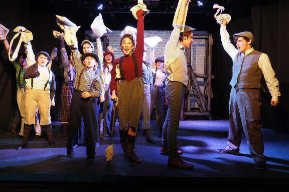 """Upstage Arts in Webster scored multiple nominations, including best musical, for two shows: """" Newsies ,"""" above, and """"Freaky Friday."""" Those nominated from """" Newsies """" include: Luke  Everhart , best supporting actor, second from the left; and front row from left: Kyle Holcomb, best actor; Lillian  Bargar , best supporting actress; and Jacob  Mayfield , best supporting actor."""