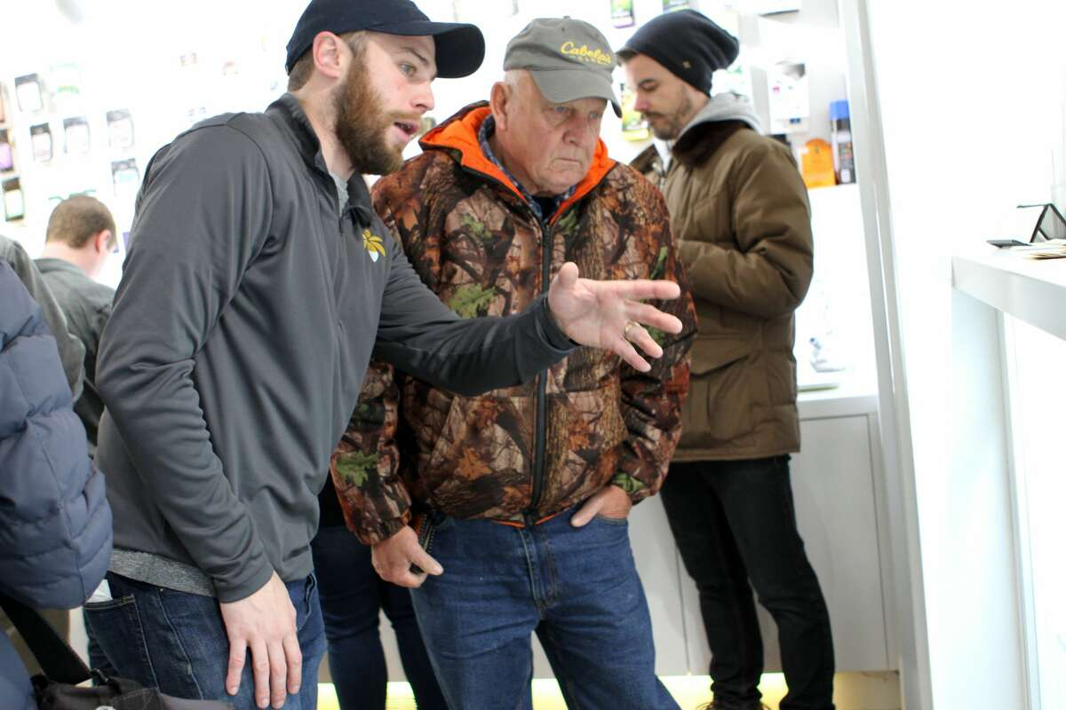 Crowds lined outside of Lit Provisioning Centers in Evart on Friday for the first legal weed sales in midwest Michigan. The center, located at 600 W. 7th St., will be open until 9 p.m. Friday.