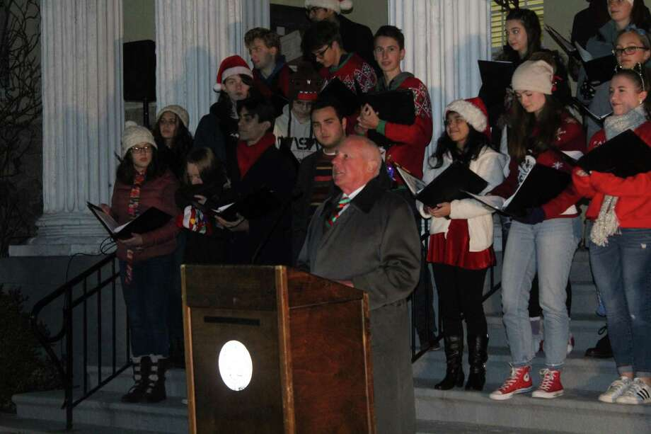 First Selectman Jim Marpe addresses the crowd in attendance for the annual tree lighting. Taken Dec. 5, 2019 in Westport, Conn. Photo: DJ Simmons/Hearst Connecticut Media