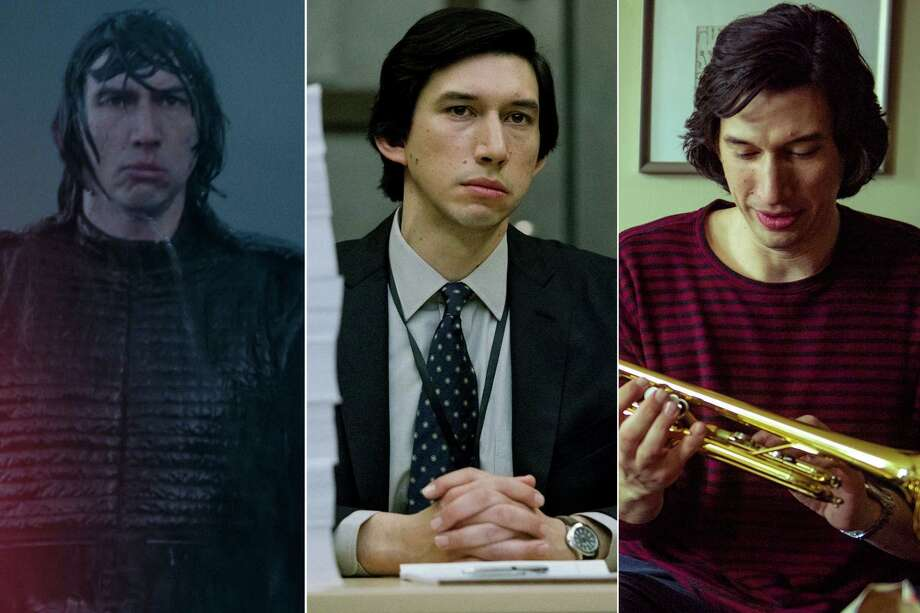 """From left, Adam Driver appears in """"Star Wars: The Rise of Skywalker,"""" """"The Report"""" and """"Marriage Story."""" Photo: Walt Disney Studios; Atsushi Nishijima/Amazon Studios; Wilson Webb/Netflix / Walt Disney Studios; Atsushi Nishijima/Amazon Studios; Wilson Webb/Netflix"""