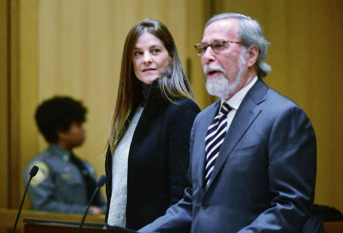 Michelle Troconis appears for a pre-trial hearing with her attorney Andrew Bowman on Dec. 6 at the Stamford Superior Court.