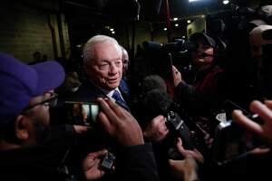 Dallas Cowboys' owner Jerry Jones speaks with the media following an NFL football game between the Chicago Bears and the Dallas Cowboys, Thursday, Dec. 5, 2019, in Chicago. Chicago won 31-24. (AP Photo/Charles Rex Arbogast)
