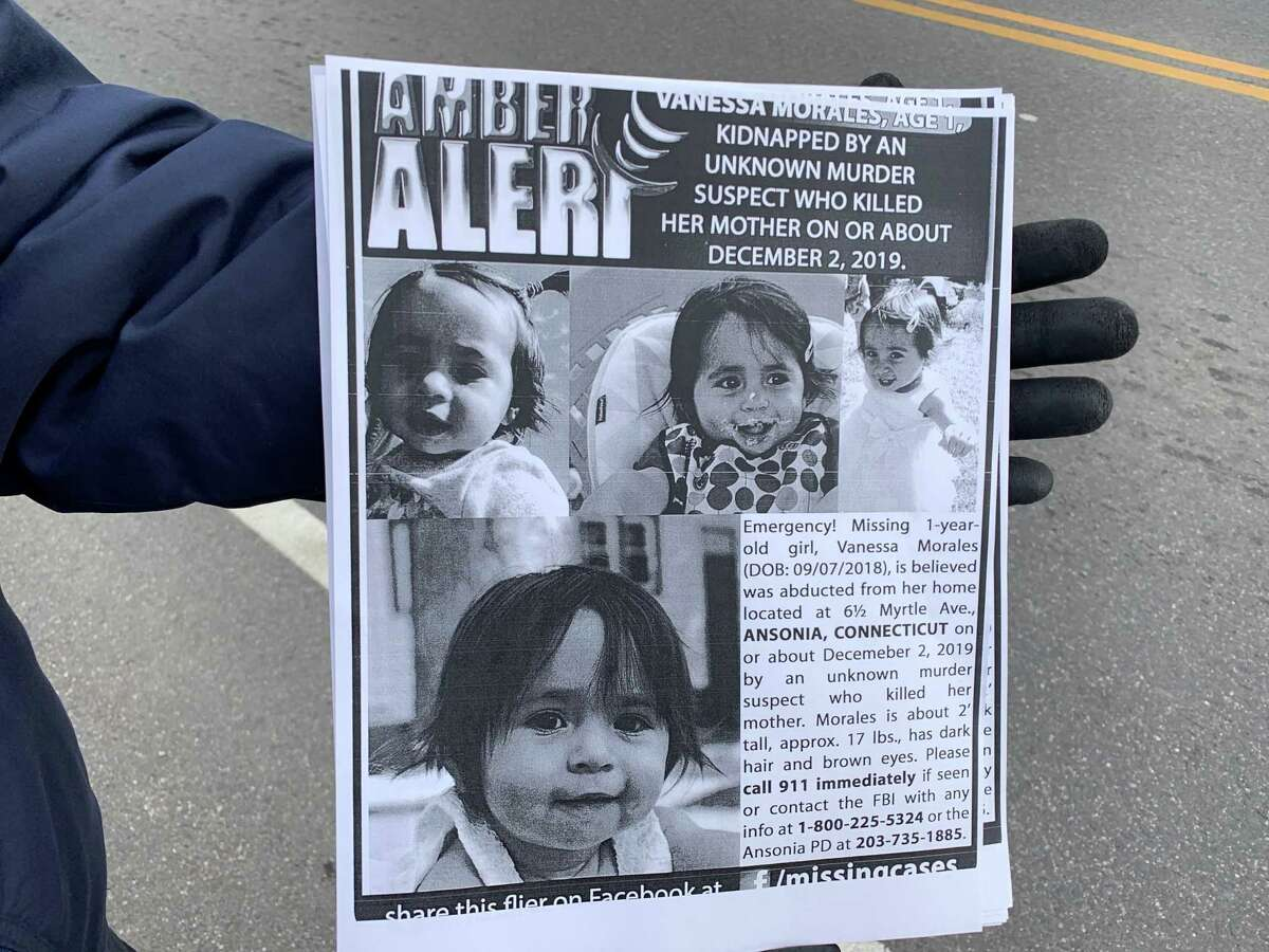 Third ward Alderman Joe Cassetti, a 70-year old grandfather of three, shows the flyers they are handing out flyers to passing motorists on Derby Avenue in Derby on Friday, Dec. 6, 2019. More than 300 have been given out here and on Beaver Street in Ansonia. The flyers urged residents to be on the lookout for missing Vanessa Morales.