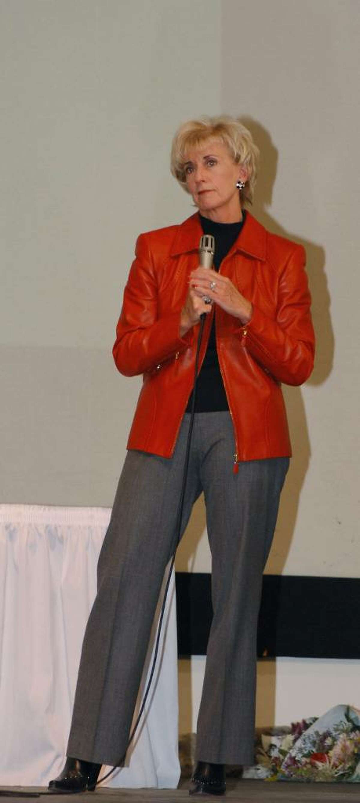 World Wrestling Entertainment (WWE) CEO Linda McMahon speaks during the