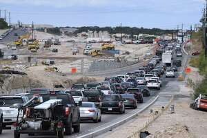 Traffic is backed up along U.S. 281 north between Evans Road and Stone Oak Parkway for overpass work last October. The now-familiar nightly detours in the area are on tap for this weekend.