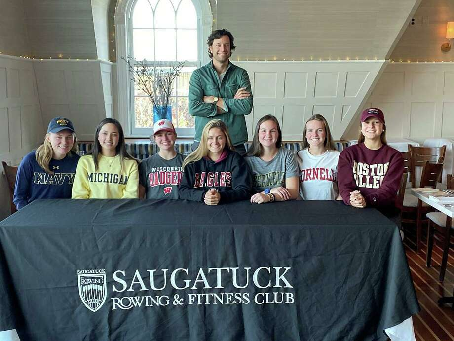 On Nov. 13, seven of the Saugatuck Rowing Club's senior rowers committed to rowing in college, making it official by signing the National Letter of Intent. Several are Staples High School seniors, including Anna Coleman, who will be rowing for the team at Boston College, Greta Gilbert who will be joining the team at Cornell, and Abby Straight, who is headed out west to row for Berkeley. Amanda Hall, who is a student at New Canaan High, will be joining her teammate at Boston College. In addition, three rowers from Fairfield high schools have also signed their letters of intent, including Alexandra Gable, who will be a coxswain at the University of Michigan, Kathleen Roland, who will join the U.S. Navy rowing team, and Vicky Stuart, who will be rowing as a lightweight at the University of Wisconsin. Photo: Contributed /