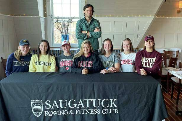 On Nov. 13, seven of the Saugatuck Rowing Club's senior rowers committed to rowing in college, making it official by signing the National Letter of Intent. Several are Staples High School seniors, including Anna Coleman, who will be rowing for the team at Boston College, Greta Gilbert who will be joining the team at Cornell, and Abby Straight, who is headed out west to row for Berkeley. Amanda Hall, who is a student at New Canaan High, will be joining her teammate at Boston College. In addition, three rowers from Fairfield high schools have also signed their letters of intent, including Alexandra Gable, who will be a coxswain at the University of Michigan, Kathleen Roland, who will join the U.S. Navy rowing team, and Vicky Stuart, who will be rowing as a lightweight at the University of Wisconsin.