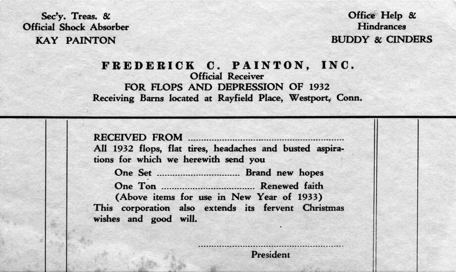 Frederick Painton's humorous holiday greeting during the Great Depression. Photo: Contributed