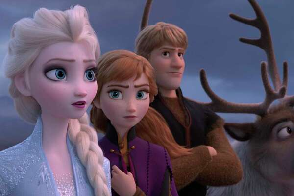 "This image released by Disney shows Elsa, voiced by Idina Menzel, from left, Anna, voiced by Kristen Bell, Kristoff, voiced by Jonathan Groff and Sven in a scene from the animated film, ""Frozen 2."""