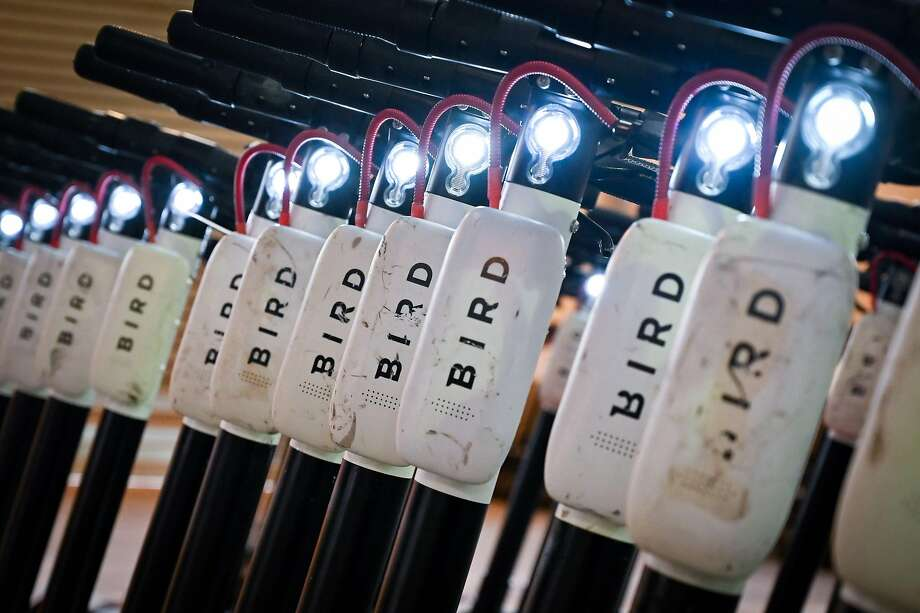 FILE - Electric scooters of startup Bird are parked in a maintenance hall in Marseille, southern France, on November 18, 2019. Photo: Gerard Julien / AFP Via Getty Images