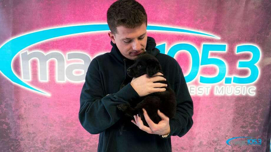 Charlie Puth left San Antonio with Charlie the Pup on Thursday.The singer stopped in San Antonio on Thursday for an intimate set at the Tobin Center's Carlos Alvarez Studio Theater. Before the performance, he stopped by Magic 105.3's studio. Radio host Jenny Lee said the station invited their friends at the San Antonio Humane Society to join them and bring a puppy to the performance. Photo: Courtesy, Magic 105.3
