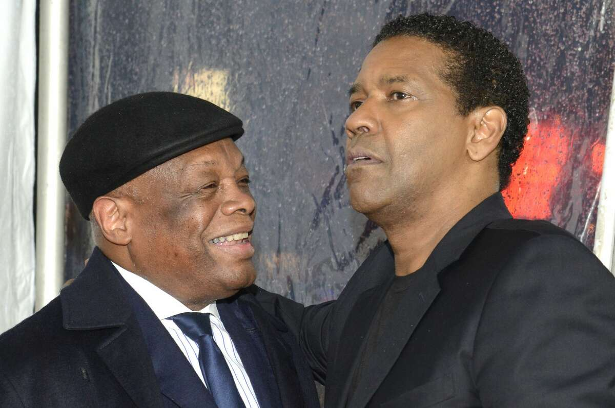 """Former San Fancisco Mayor Willie Brown (L) and Denzel Washington attend the premiere of Paramount Pictures' """"Fences"""" at Curran Theatre on December 15, 2016 in San Francisco, California."""