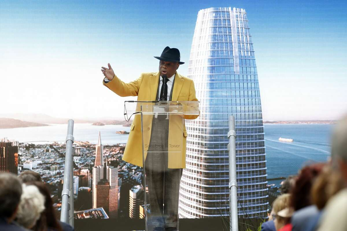 Former San Francisco Mayor Willie Brown emcees the grand opening of the Salesforce Tower in San Francisco, Calif., Tuesday, May 22, 2018. The building, 1070 feet tall, is now the city's tallest.