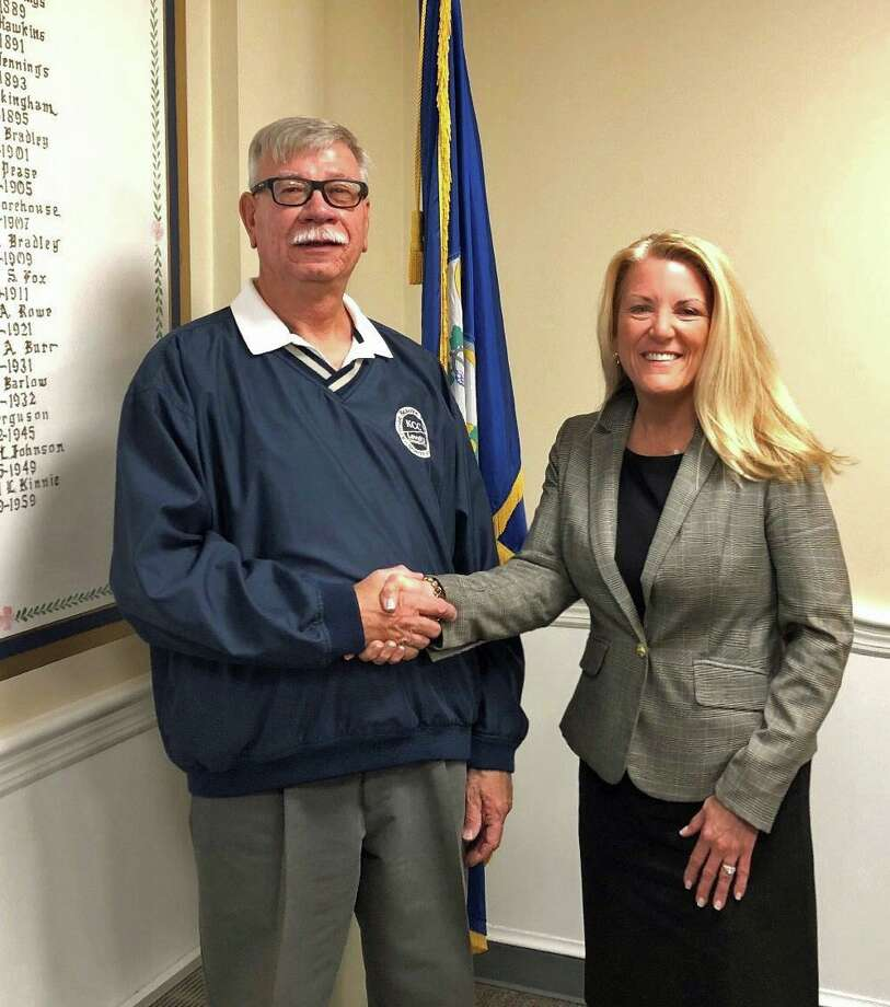 First Selectwoman Brenda Kupchick welcomes new Interim Superintendent of Public Works Doug Novak. Photo: Contributed Photo