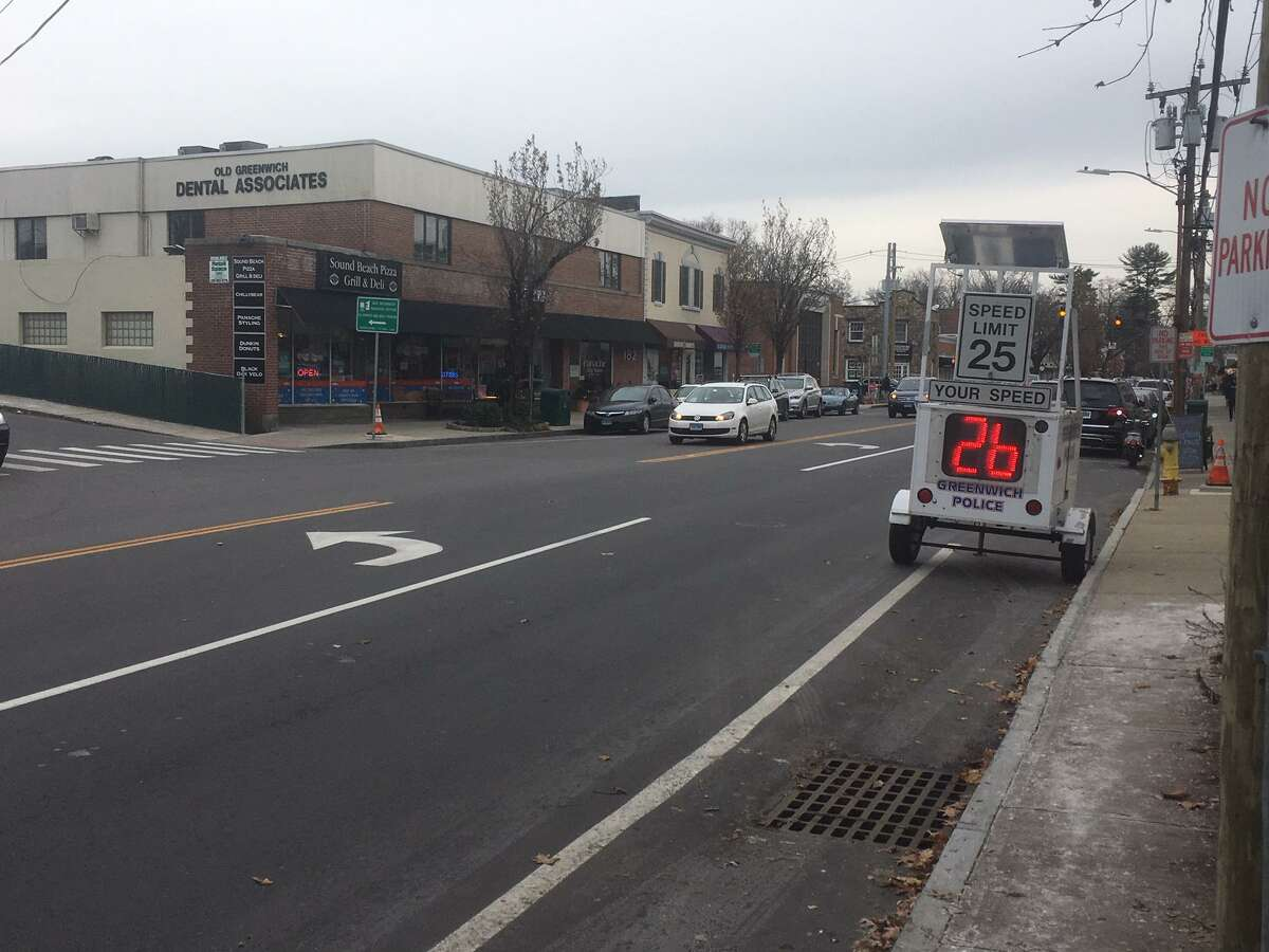 A speed monitor has been placed on Sound Beach Avenue, near the scene of a fatal accident.