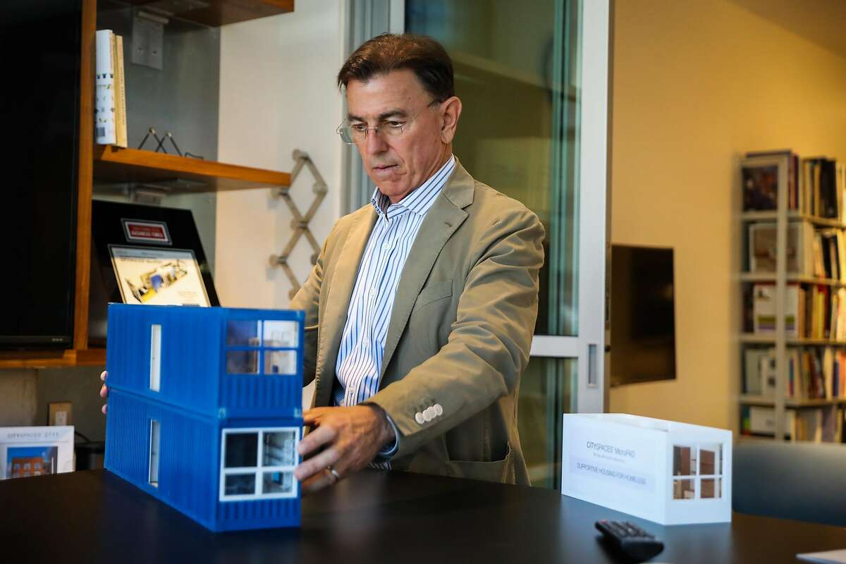 Patrick Kennedy, owner of Panoramic Interests shows off a model in his office space in San Francisco, California, on Monday, June 5, 2017.