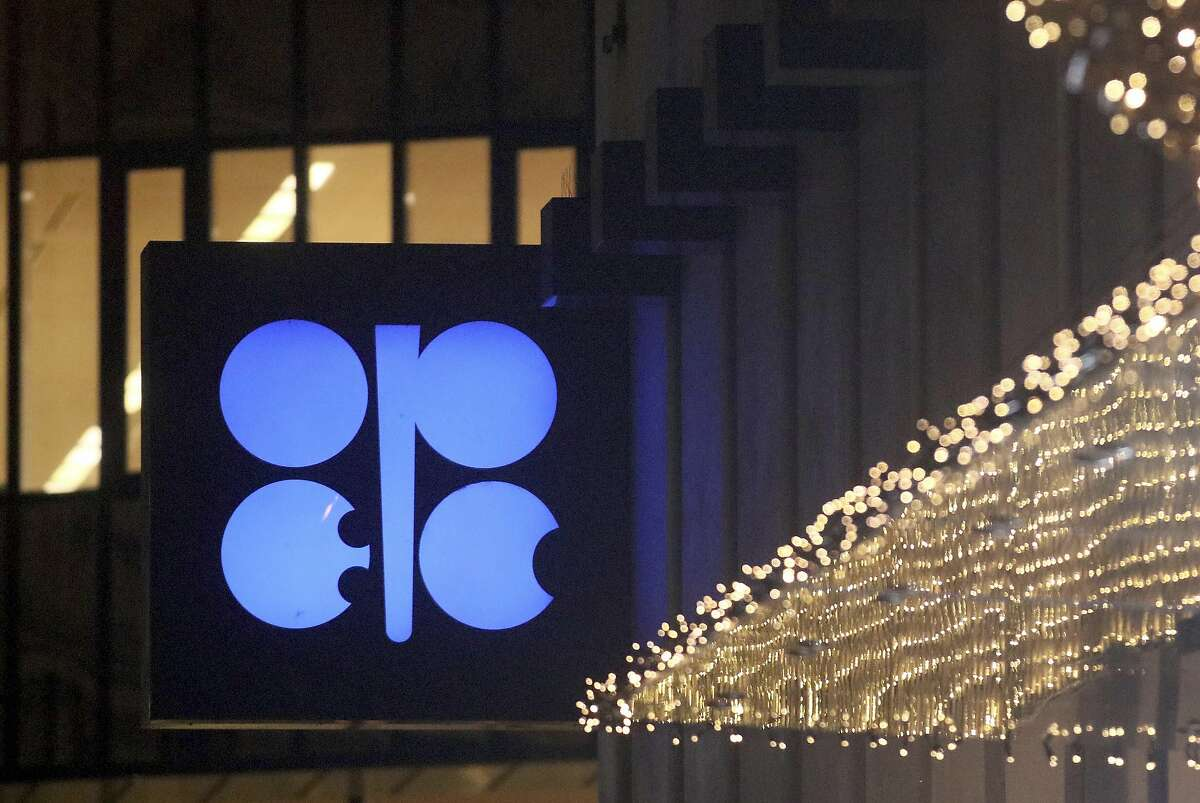 The logo of the Organization of the Petroleum Exporting Countries, OPEC, shines at their headquarters in Vienna, Austria, Thursday, Dec. 5, 2019.