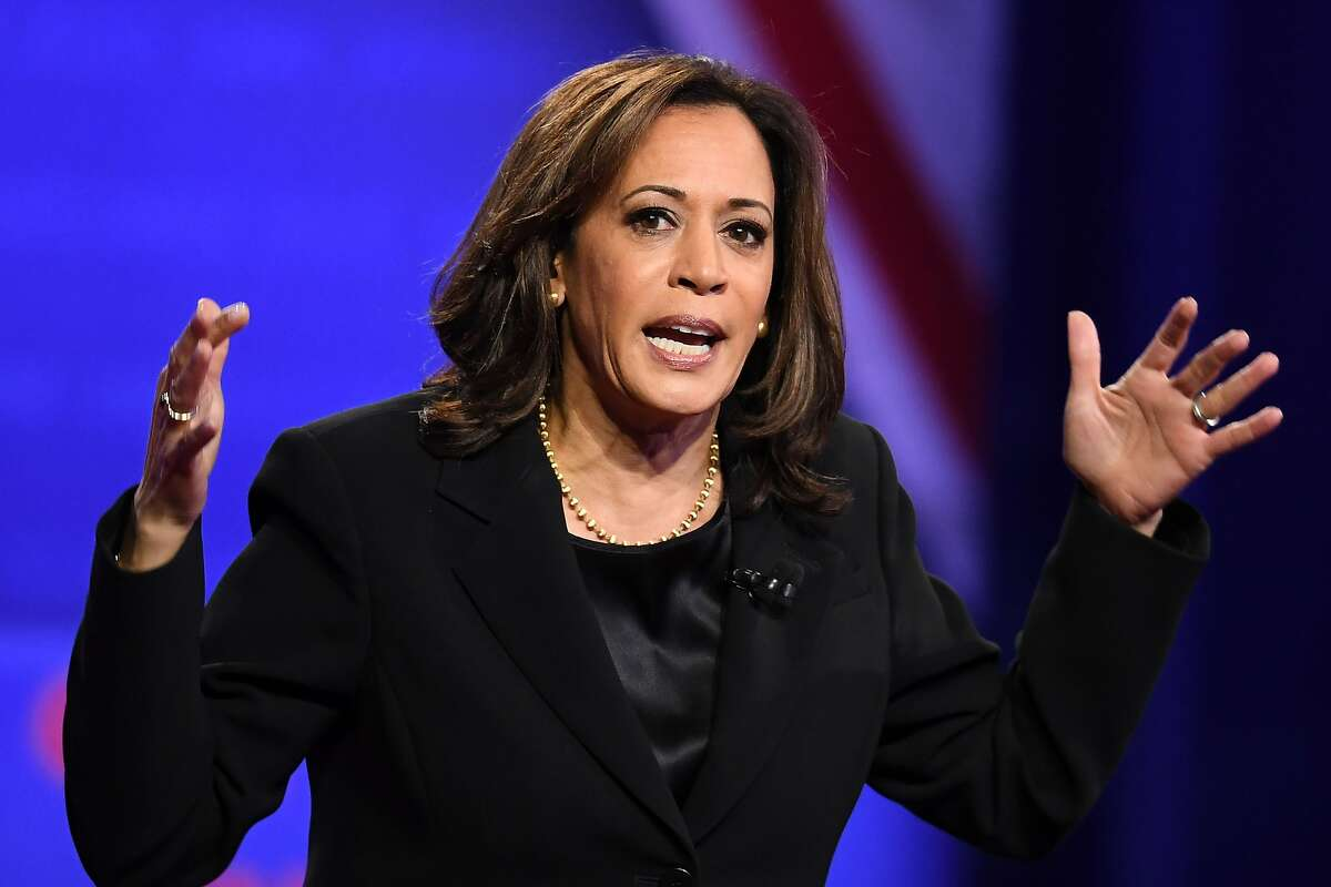 """(FILES) In this file photo taken on October 10, 2019 Democratic presidential hopeful California Senator Kamala Harris speaks during a town hall devoted to LGBTQ issues hosted by CNN and the Human rights Campaign Foundation at The Novo in Los Angeles. - US Senator Kamala Harris announced December 3, 2019 she is ending her 2020 presidential bid following a period of campaign turmoil, disappointing fundraising and her failure to break out of a crowded field.""""I've taken stock and looked at this from every angle, and over the last few days have come to one of the hardest decisions of my life,"""" the 55-year-old lawmaker from California told supporters in an email. """"My campaign for president simply doesn't have the financial resources we need to continue."""" (Photo by Robyn Beck / AFP) (Photo by ROBYN BECK/AFP via Getty Images)"""