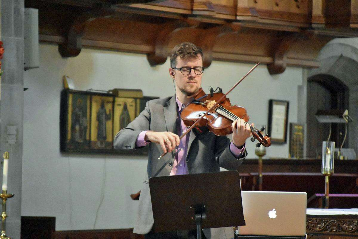 Nick Revel performs at St. Paul's on the Green in Norwalk at last month's Mid-Day Music series.