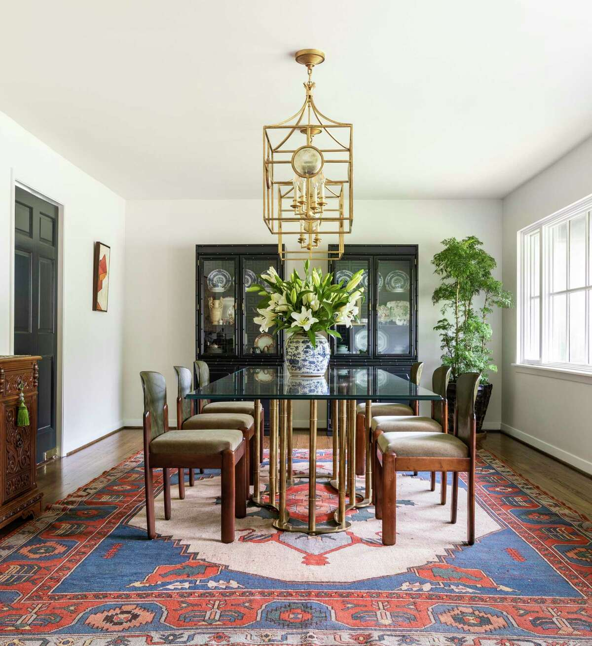 The dining room is filled with Asian influence and vintage finds.