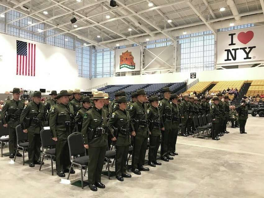 Thirty environmental conservation police officers and 14 forest rangers graduated from the state Department of Environmental Conservation's Basic School on Dec. 6, 2019, in Syracuese, N.Y.