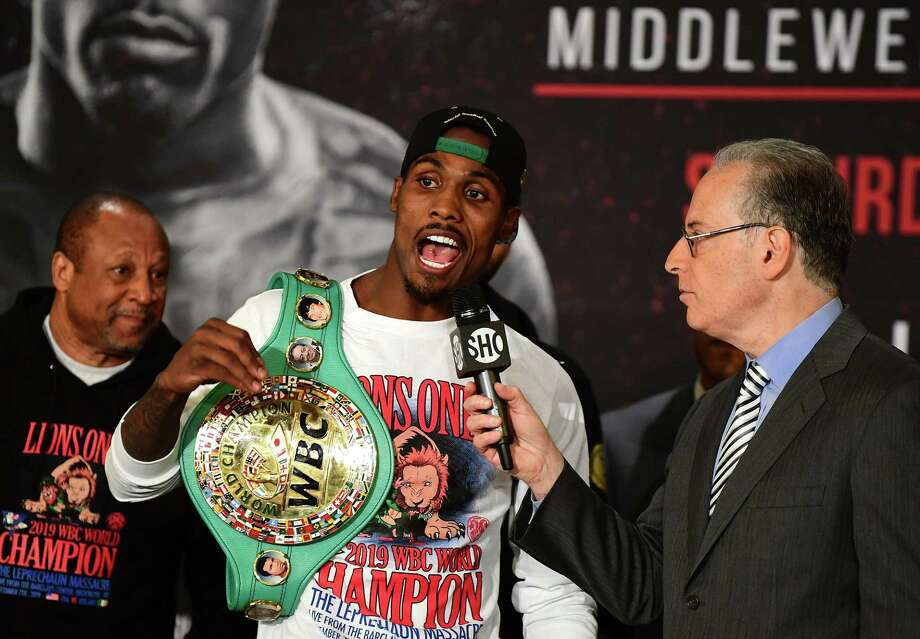 NEW YORK, NEW YORK - DECEMBER 06: Jermall Charlo of the United States addresses the media during the weigh-in for his upcoming middleweight fight Dennis Hogan of Ireland at The Tillary Hotel on December 06, 2019 in the Brooklyn borough of New York City. Photo: Emilee Chinn, Getty Images / 2019 Getty Images