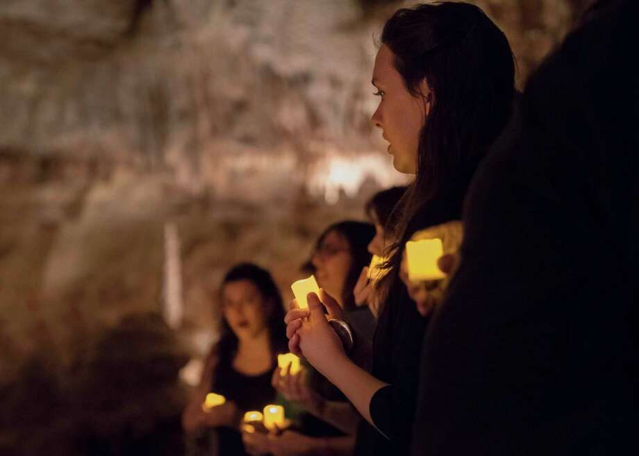 From 180 feet below ground, local choirs and singing groups will make beautiful Christmas music during Natural Bridge Caverns' 2019 Christmas in the Caverns celebration. Photo: Natural Bridge Caverns