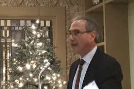 Ted Schaffer, chairman of the Commercial Investment Division of the New Haven-Middlesex Association of Realtors, speaks at the trade group's annual awards dinner Thursday at the New Haven Country Club in Hamden. Schaffer is a senior commercial advisor with Press/Cuozzo Commercial Services in Hamden.