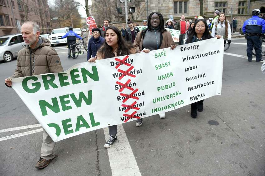 Young activists participate in a climate strike in downtown New Haven beginning and ending in front of City Hall on December 6, 2019.