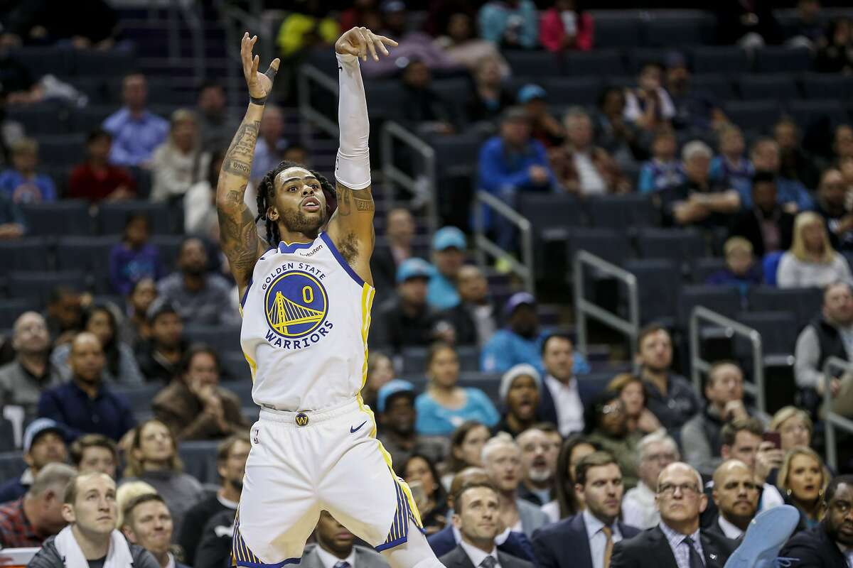 Golden State Warriors guard D'Angelo Russell (0) watches his shot against the Charlotte Hornets in the second half of an NBA basketball game in Charlotte, N.C., Wednesday, Dec. 4, 2019. Charlotte won 106-91.