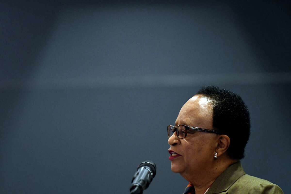 Rensselaer Polytechnic Institute President, Shirley Ann Jackson speaks during a ribbon cutting to open a new IBM AiMOS supercomputer at the Center for Computational Innovations on Friday, Dec. 6, 2019, in NorthGreenbush, N.Y. The Artificial Intelligence Multiprocessing Optimized System is powered by IBM POWER9 CPUs, manufactured at GlobalFoundries in Malta, as well as GPUS from NVIDIA. (Will Waldron/Times Union)
