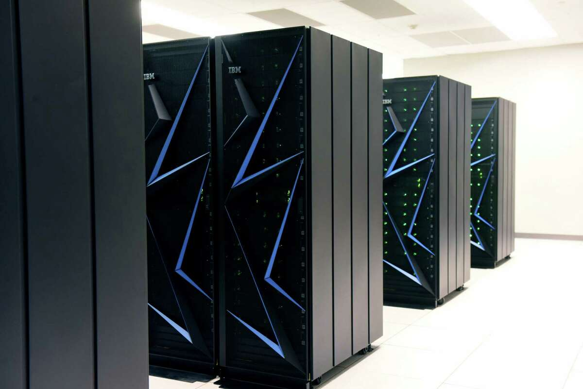 A new IBM AiMOS supercomputer is displayed at the Center for Computational Innovations on Friday, Dec. 6, 2019, in NorthGreenbush, N.Y. The Artificial Intelligence Multiprocessing Optimized System is powered by IBM POWER9 CPUs, manufactured at GlobalFoundries in Malta, as well as GPUS from NVIDIA. (Will Waldron/Times Union)