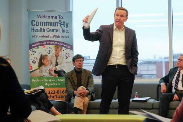 U.S. Senator Chris Murphy (D-Conn.) holds a roundtable listening session at the Community Health Center of Stamford on Dec. 6, 2019. Murphy heard from constituents on their experience with medical debt and will use the feedback to continue to draft legislation he is working on back in Washington to combat rising costs. He was joined by patients, local elected officials, including Stamford Mayor David Martin; health care advocates; and health care professionals.
