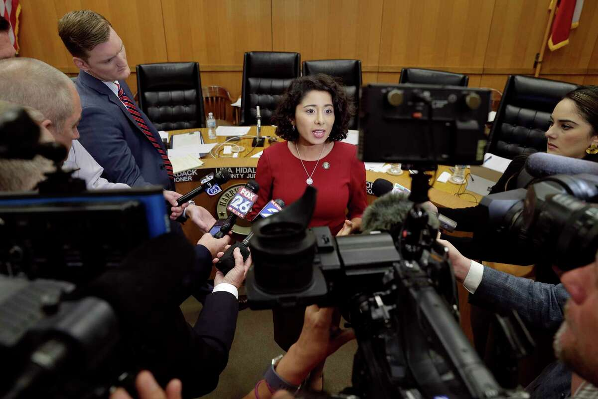 Harris Co. judge Lena Hidalgo talks with news organizations during a recess break of the commissioners court Tuesday, Oct. 8, 2019 in Houston, TX.